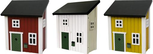 briefkasten aus holz im schwedischen landhausstil - in rot, weiß, Moderne